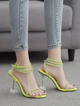 Sexy Clear Heel Rhinestone Sandals