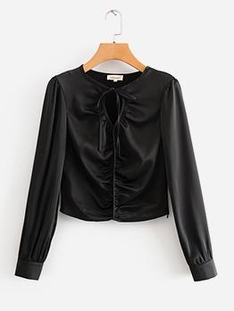 Ruched Drawstring Long Sleeve Black Blouse