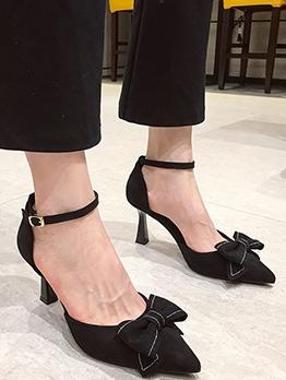Bow Decor Stiletto Closed Toe Sandals For Women