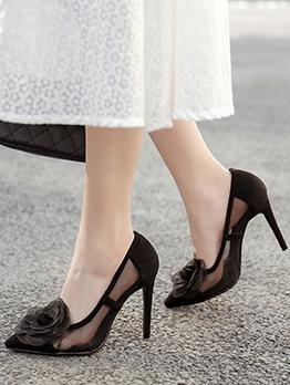 Stereo Flower See Through Stiletto Black Heels