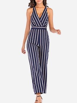 V Neck Backless Sleeveless Striped Jumpsuit