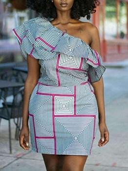 Inclined Shoulder Short Sleeve Printed Ladies Dress