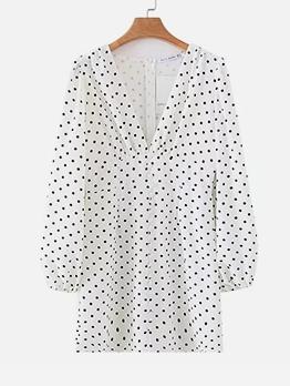 Deep V Neck White Lantern Sleeve Polka Dot Dress