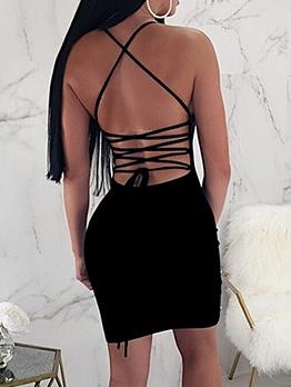 Cross Belt Backless Faux Pearl Decor Mini Dress