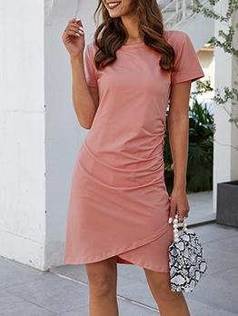 Fashion Irregular Hem Short Sleeve T-Shirt Dress