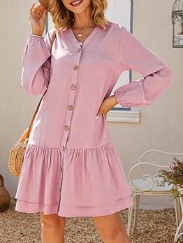 V Neck Single-Breasted Flounced Hem Ladies Dress