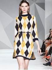 Color Block Geometric Print Sweater Dress