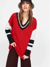 Loose Contrast Tipping V Neck Sweater