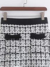 Spring Plaid Tassel Hem Mini Skirt