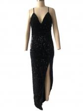 V Neck Sleeveless High Split Sequin Prom Dress