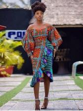 African Tribal Print Ruffled Long Sleeve Dress
