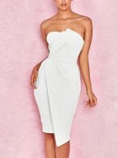 Sexy Solid Irregular Strapless Dress