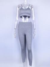 Solid Color Skinny 2 Piece Ladies Sportswear