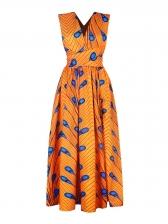 Multi-Way Wearing Feather Pattern Maxi Dresses