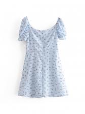 Fashion V Neck Puff Sleeve Floral Short Dress