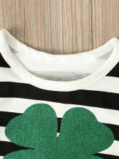Gauze Patchwork Striped Long Sleeve Girls Dress