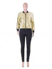 Fashion Long Sleeve Zipper Sequin Two Piece Set