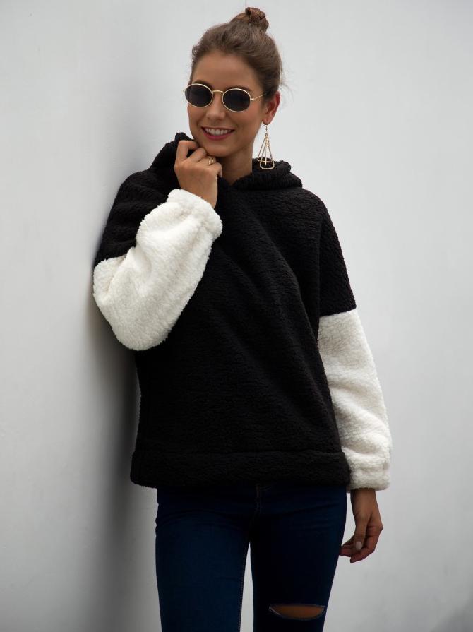 Contrast Color Long Sleeve Fleece Hoodie