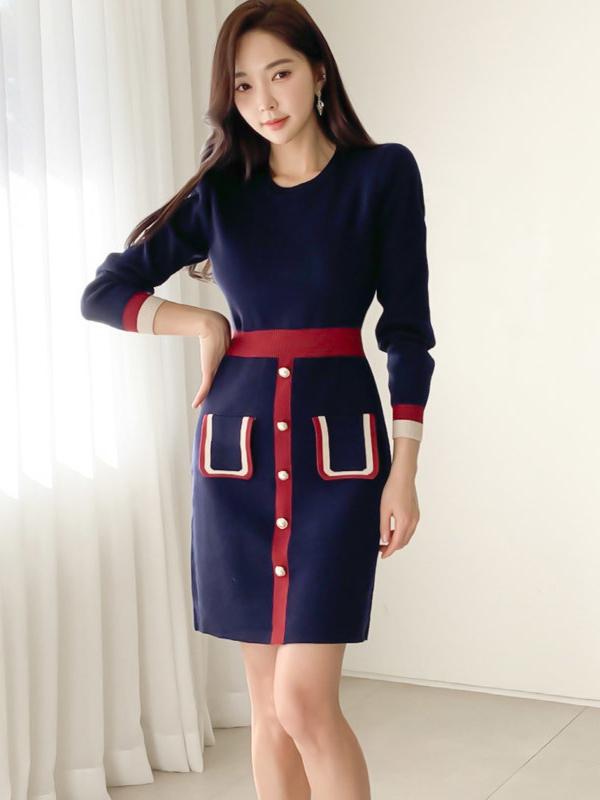 Simple Contrast Color Ladies Sweater Dress