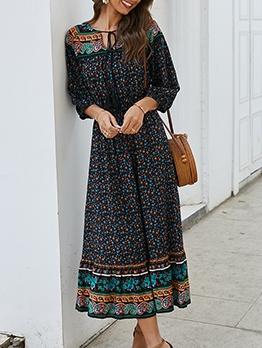 Bohemian V Neck Long Sleeve Floral Dress