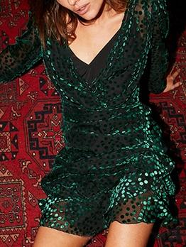 V Neck Dot Long Sleeve Short Dress With Cami