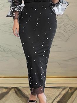 Black Gauze Beading Maxi Skirt