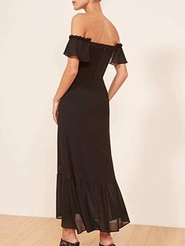 Boat Neck Short Sleeve Black Little Dress