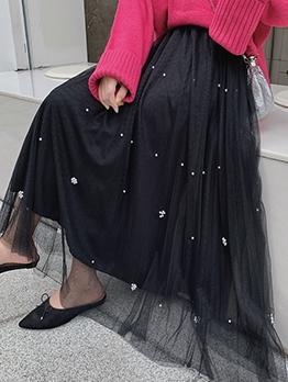 Beading A Line Maxi Mesh Skirt