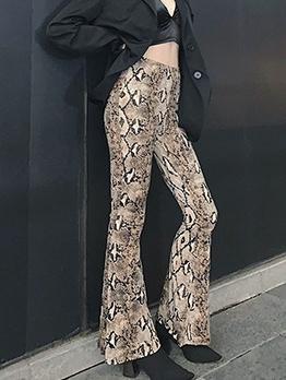 Snake Print High Waist Bell Bottom Pants