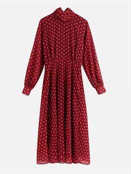 Autumn Print Long Sleeve Red Maxi Dress