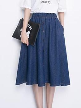 Single Breasted A Line Denim Skirt