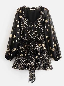 Ruffle Detail Star Print Long Sleeve Ladies Dress