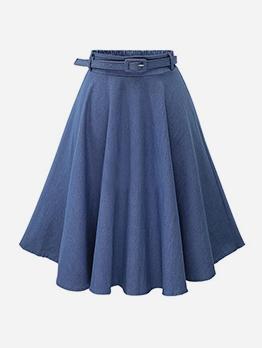 Pure Color Flare Hem Denim Skirt