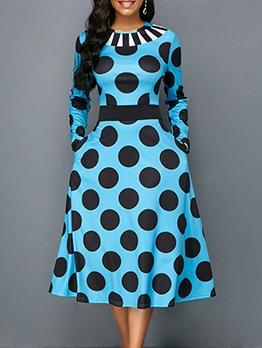 Vintage Polka Dots Dual Pockets Plus Size Dresses