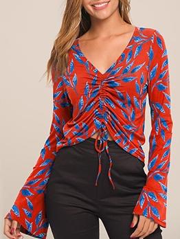 Drawstring Design Flare Sleeve Printed V Neck T Shirt