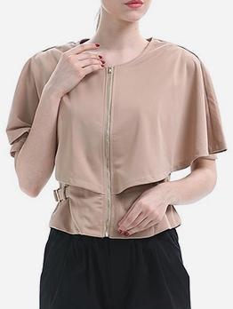 Layer Shoulder Waist Buckle Strap Khaki Blouse