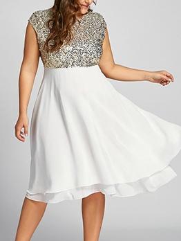 Euro Sequins Patchwork Plus Size Party Dresses