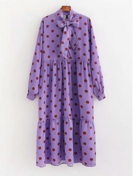 Tie Neck Polka Dots Purple Maxi Dress