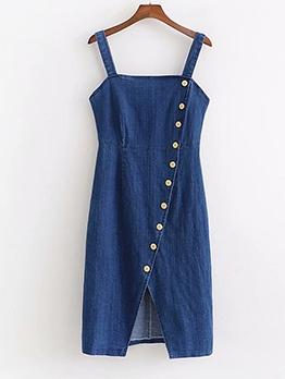 Fashion Buttons Long-line Sleeveless Denim Dress
