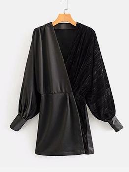 Velvet Patchwork Black Lantern Sleeve Mini Dress