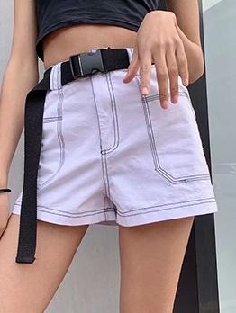 Line Stitching High Waist Short Pants