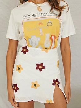 Flower Embroidery Short Slit Skirt