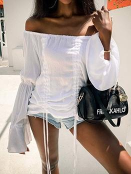 Drawstring Flare Sleeve Off The Shoulder Blouse