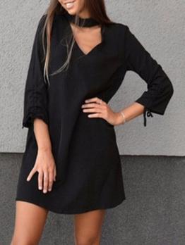 Leisure Choker Neck Black Long Sleeve Dress