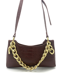 Alligator Print Thick Chain Solid Shoulder Bags