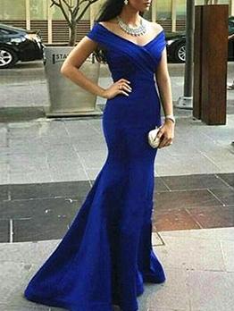 Elegant Deep v Slim Fit Blue Evening Dress