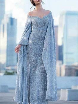 V Neck Slim Sequins Long Evening Gowns
