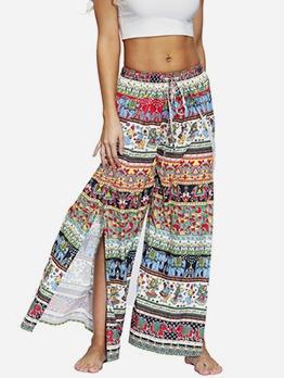 National Style Printed High Split Loose Pants