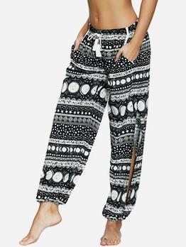 High Waist Printed Split Loose Pants