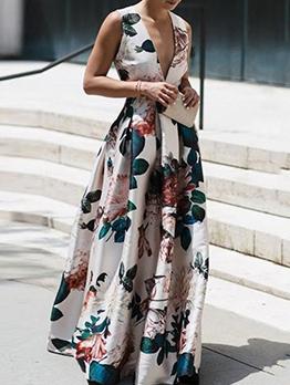 Deep v Flower Print Sleeveless Maxi Dresses